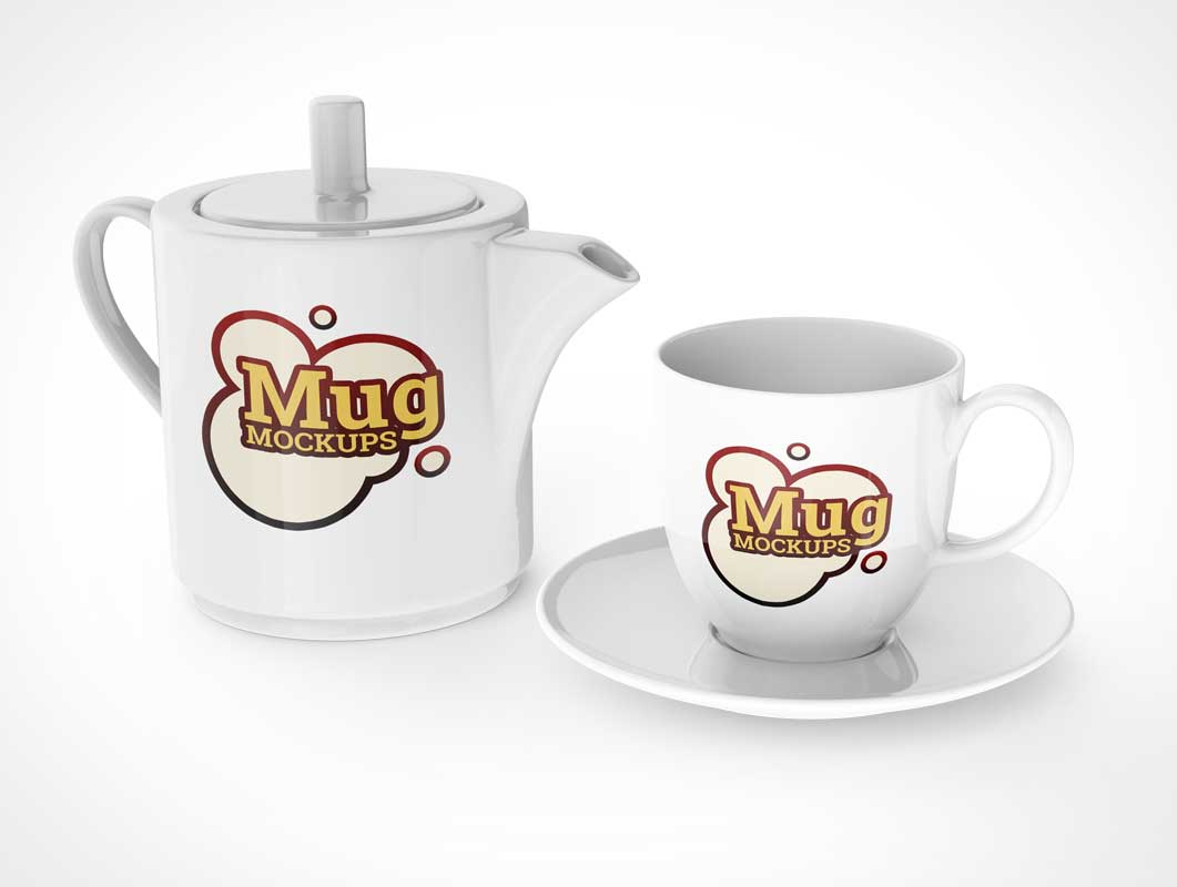 Various Teapot and Ceramic Mug PSD Mockup Templates
