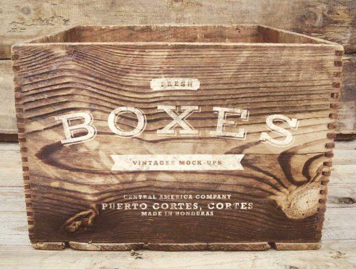 Vintage Wood Boxes Logo PSD Mockup