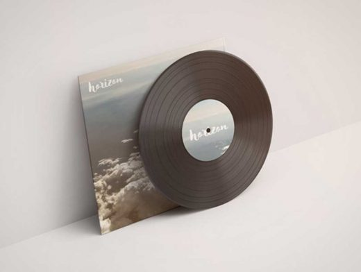 Vinyl Record With Sleeve PSD Mockup
