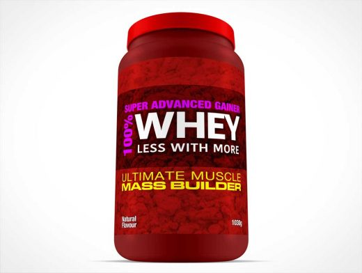 Whey Protein Container For Body Builders PSD Mockup