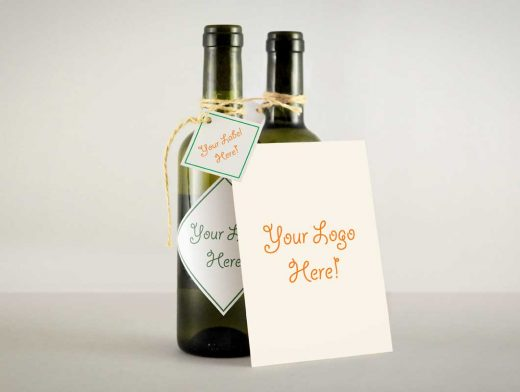 Wine Bottle String Tied Greeting Card PSD MockUp