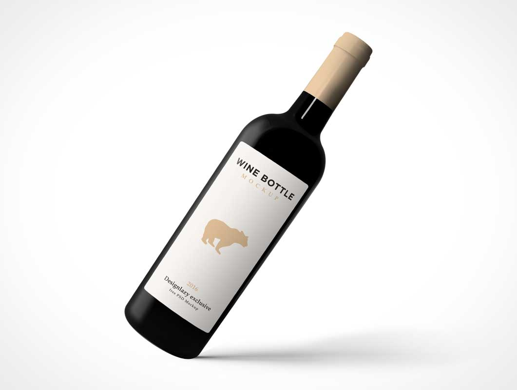 Wine Bottle Tipping Forward PSD Mockup