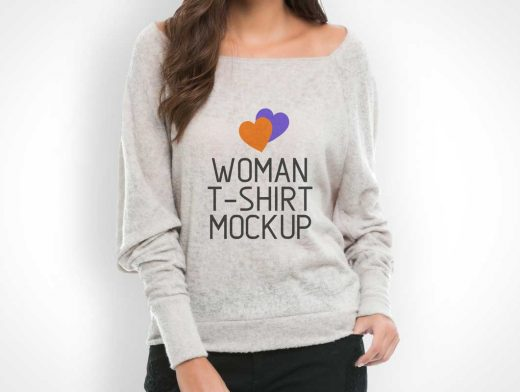 Woman's Shirt Sweater PSD Mockup
