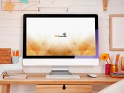 iMac Desktop Workspace Forward Scene PSD Mockup