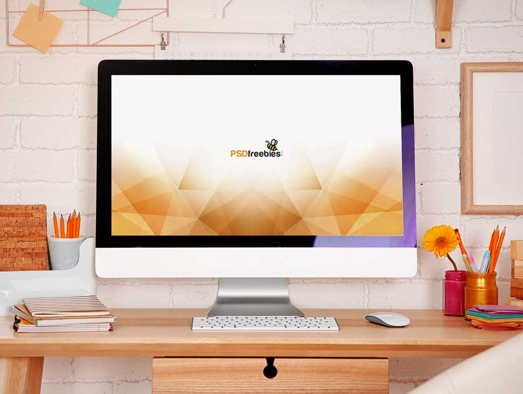 Imac desktop workspace forward scene psd mockup psd mockups - Computer desk for imac inch ...
