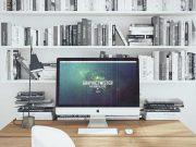 iMac Workspace Desk And BookShelf PSD Mockup