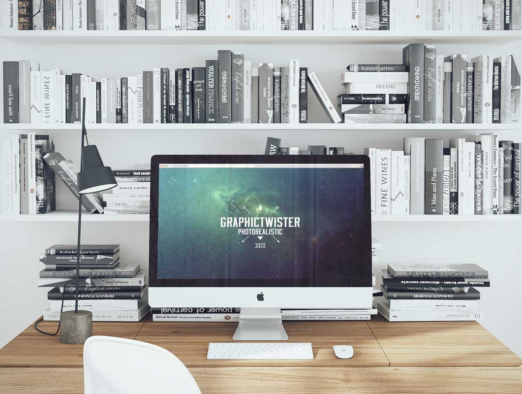iMac Workspace Desk And BookShelf PSD Mockup