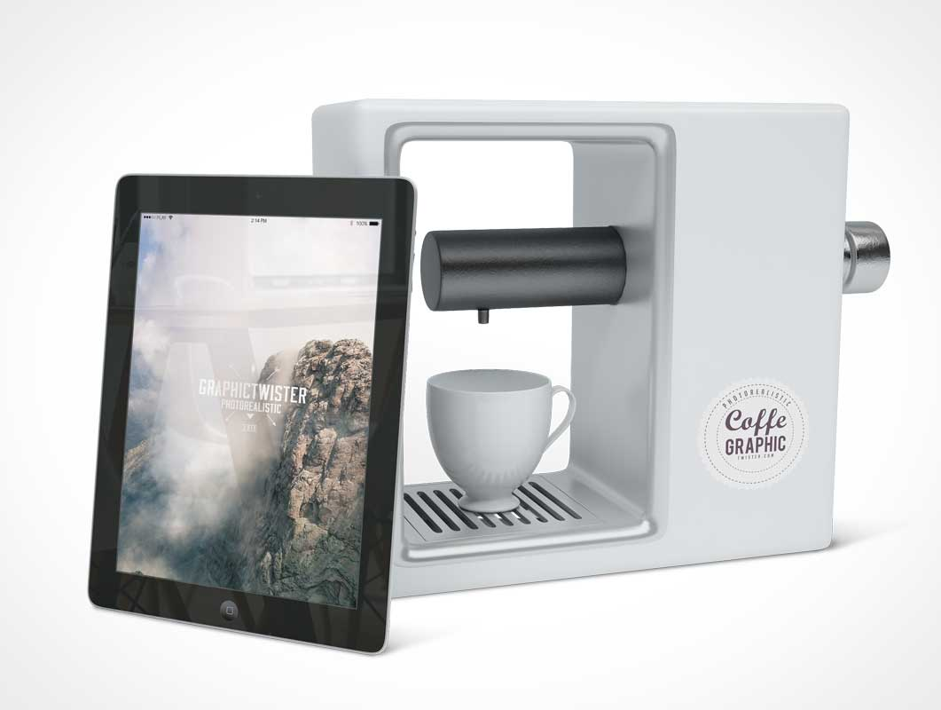 iPad And Coffee Maker PSD Mockup