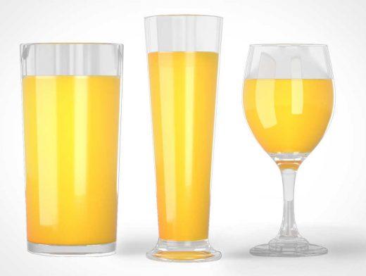 3 Juice Glasses Bundle PSD Mockup