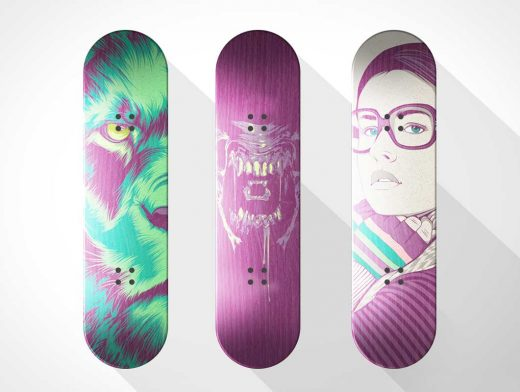3 Wooden Skateboards Without Wheels PSD Mockup