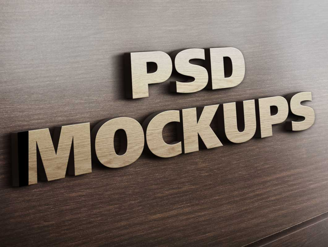 3D Wooden Corporate Logo PSD Mockup