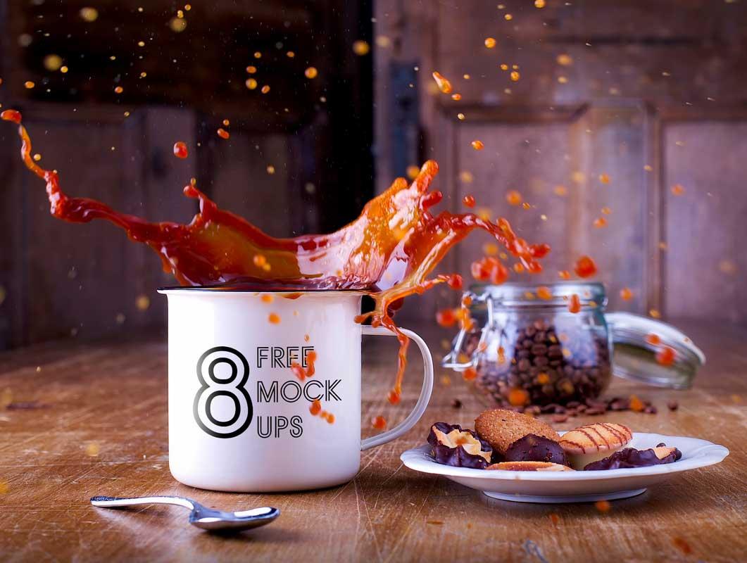 8 Ceramic Mug Coffee Action Shots PSD Mockups