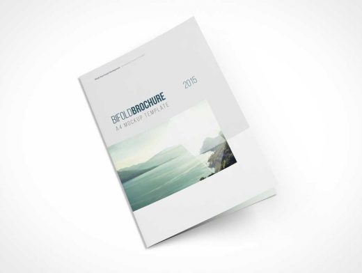 A4 Bi-Fold Top View Brochure PSD Mockup