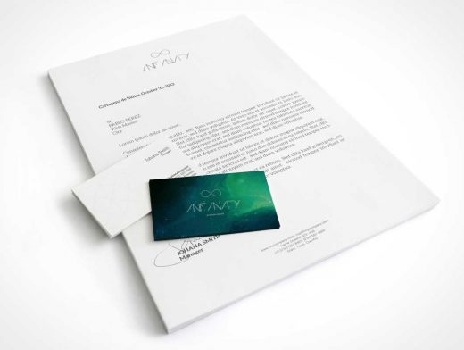 A4 Letterhead & Business Cards PSD Mockup
