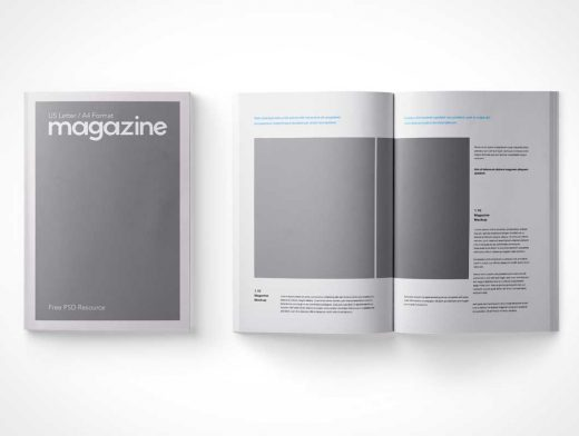 A4 Magazine Top View Front & Inside Cover PSD Mockup