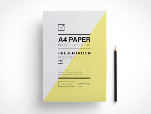 A4 Overhead Paper PSD Mockup