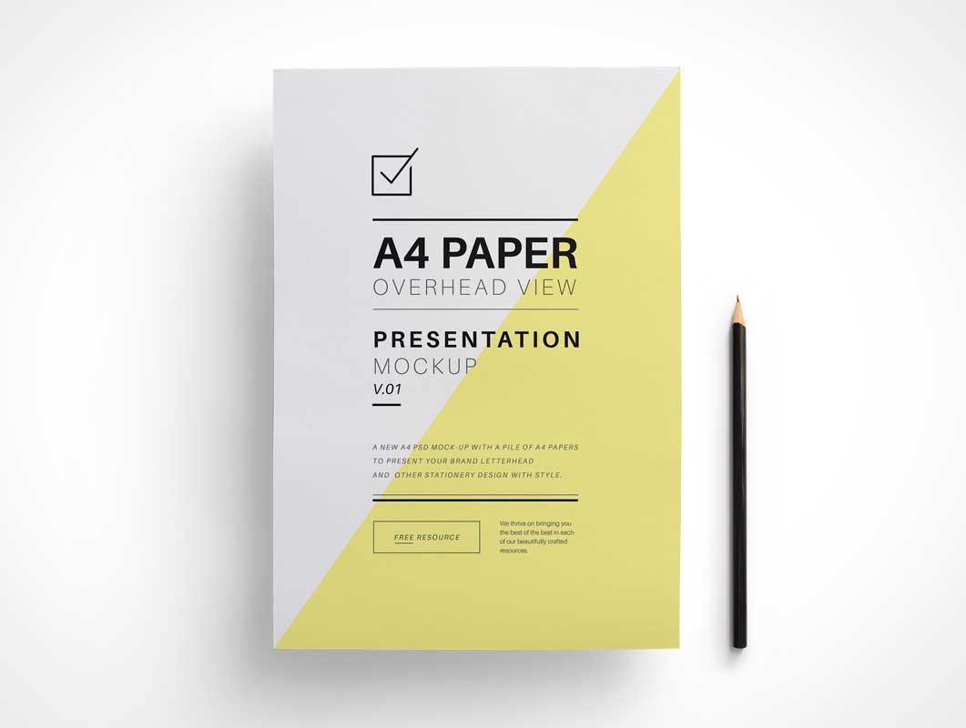 A4 Overhead Paper PSD Mockup
