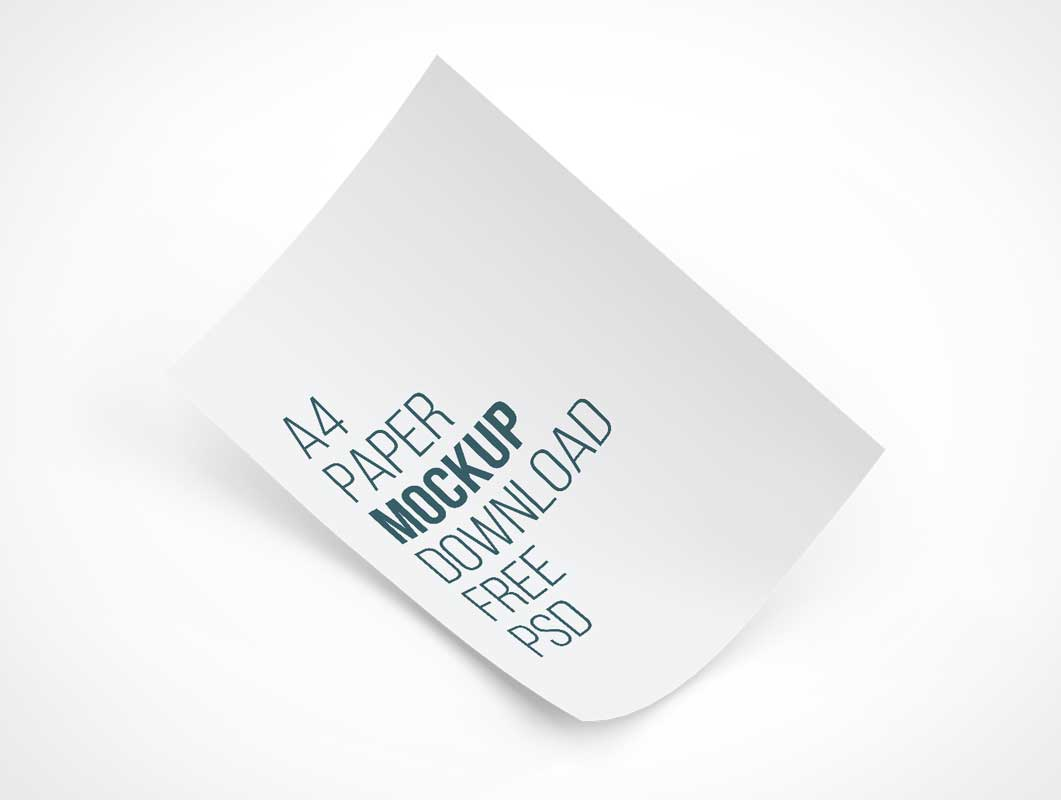 A4 Paper Floating Softly PSD Mockup