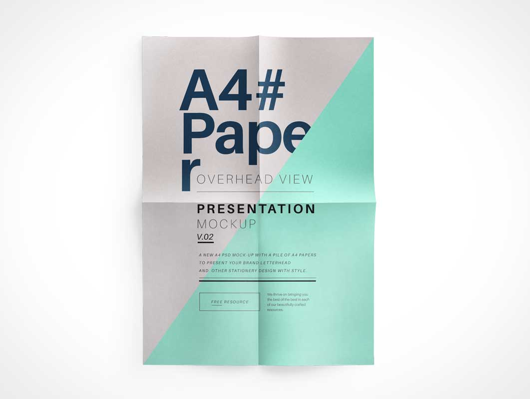 A4 Paper Overhead Top View PSD Mockup