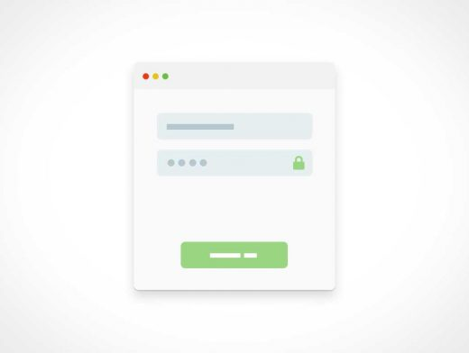 Account Login Modal View PSD Mockup