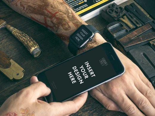 Apple Watch & iPhone Scenes PSD Mockup