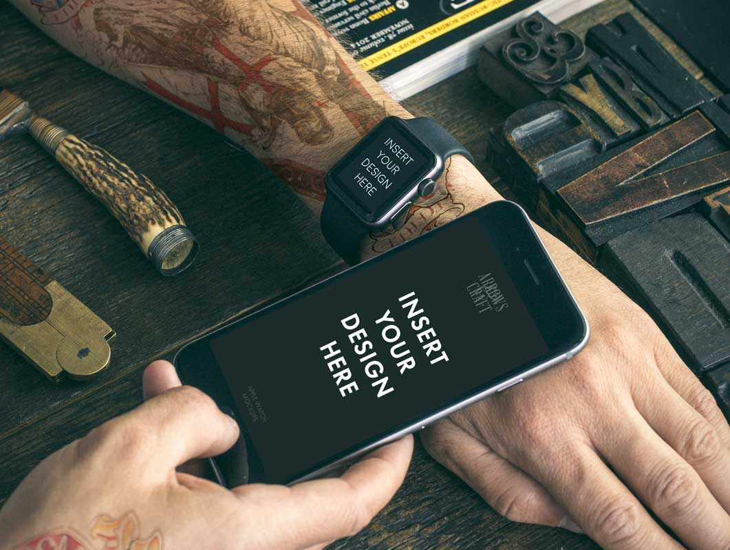 Apple Watch & iPhone Scenes PSD Mockup