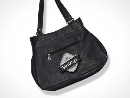 Bag Branded Logo Made Of Vintage Leather PSD Mockup
