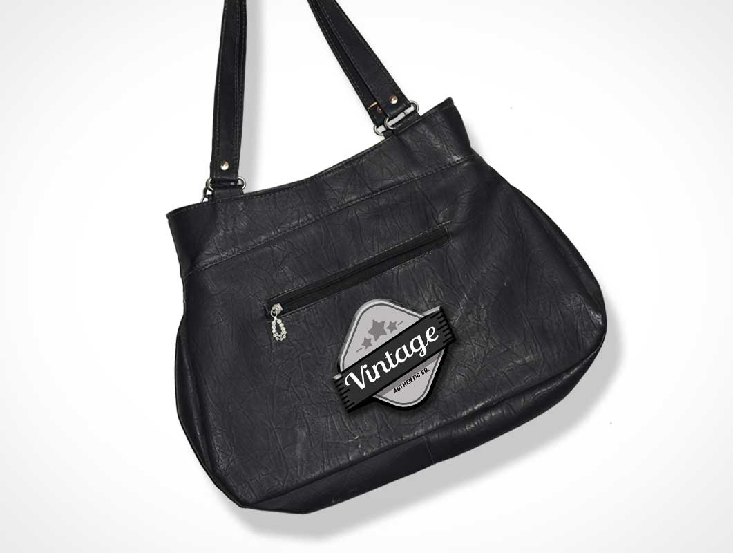 Bag Branded Logo Made Of Vintage Leather PSD Mockup