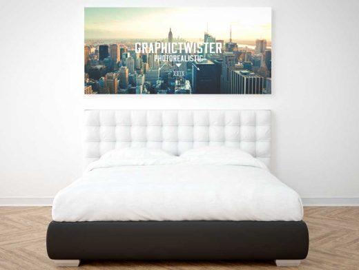 Bedroom Poster Frame PSD Mockup