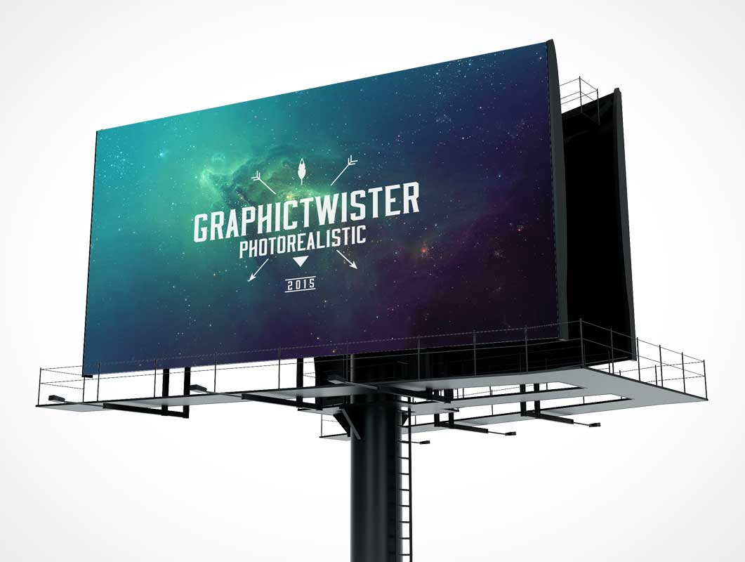 Billboard PSD Mockup With Separated Background