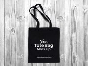 Black Cotton Tote Shopping Bag PSD Mockup