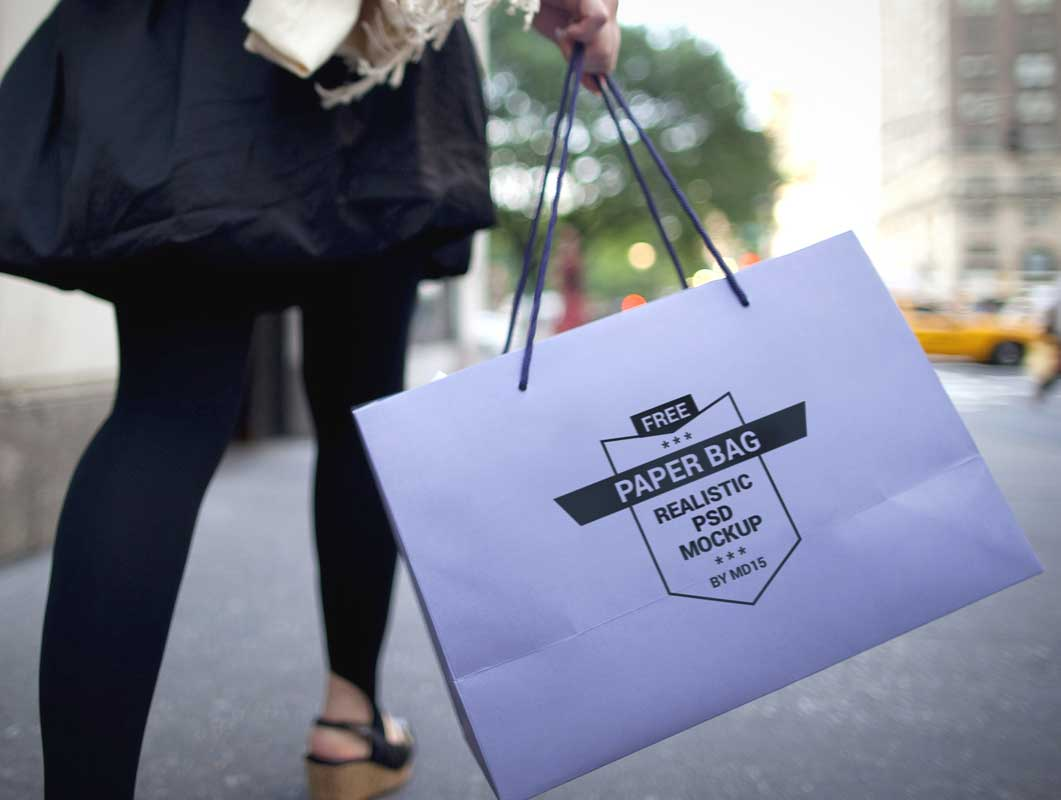 Boutique Shopping Bag With Carry String PSD Mockup