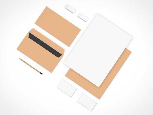 Branding Stationery Isometric Top View PSD Mockup