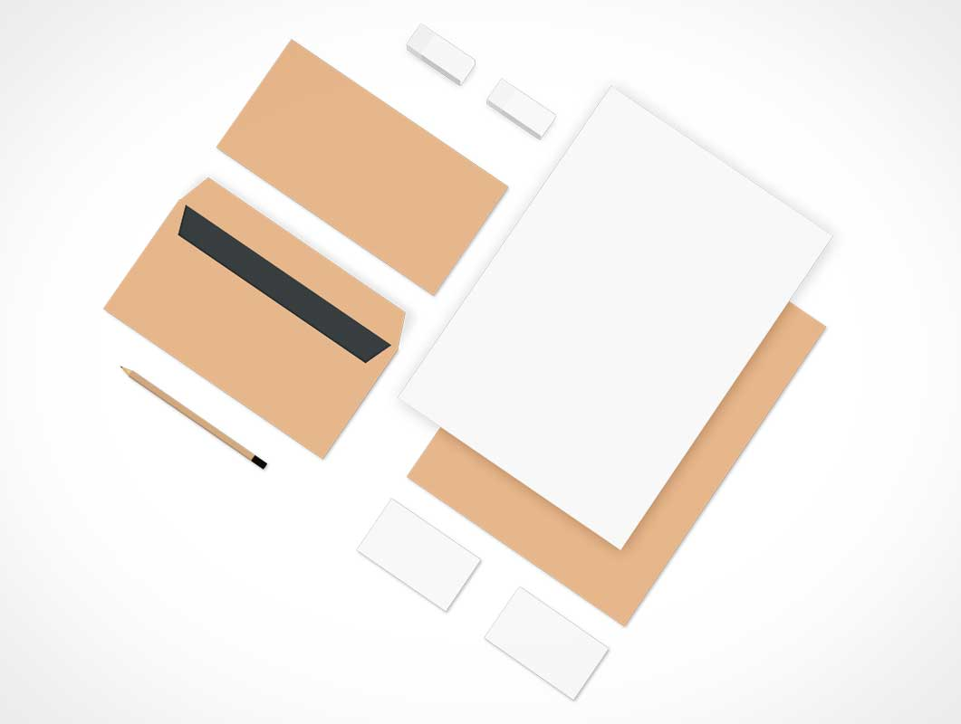 branding stationery isometric top view psd mockup - psd mockups, Powerpoint templates