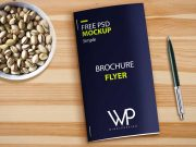 Brochure Flyer, Pen & Bowl Of Pistachio Nuts PSD Mockup