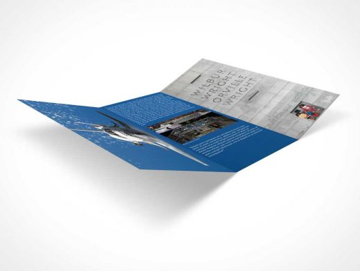 Brochure Tri-Fold Low Angle Presentation PSD Mockup