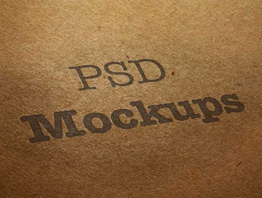 Brown Recycled Cardboard & Printed Logo PSD Mockup
