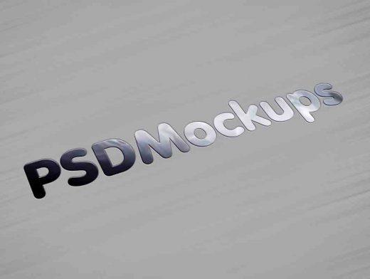 Brushed Metallic & Glossy Logo PSD Mockup