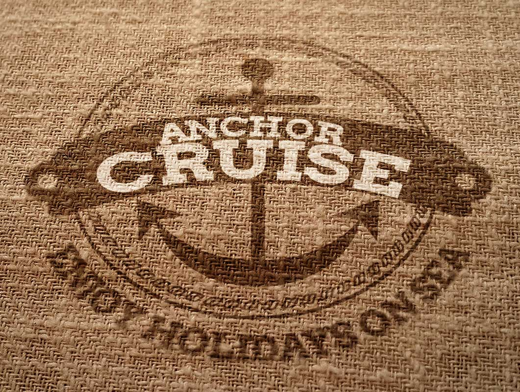 Burlap Canvas Fabric Logo PSD Mockup