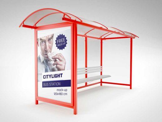 Bus Stop Station Citylight PSD Mockup