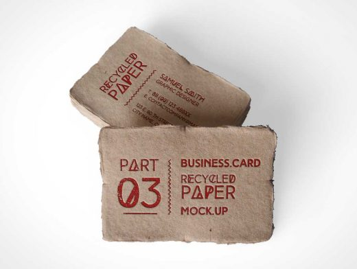 Business Card Frayed Edges Above Shot PSD Mockup