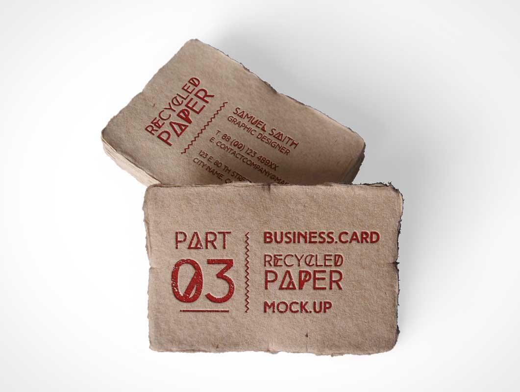 Business Card Frayed Edges Above Shot PSD Mockup - PSD Mockups