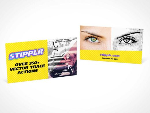 Business Card Landscape Presentation PSD Mockup