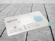 Business Card On Wood Deck PSD Mockup