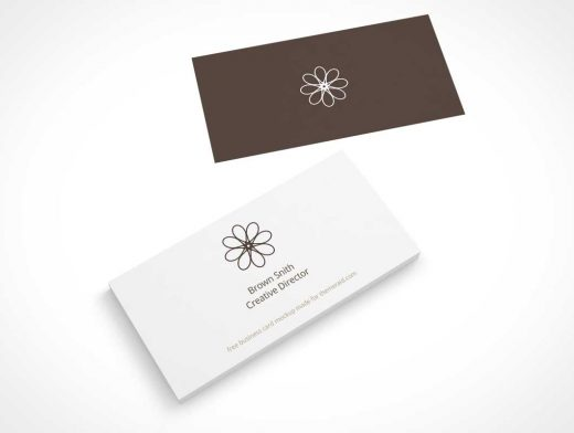 Business Card Perspective Top View PSD Mockup
