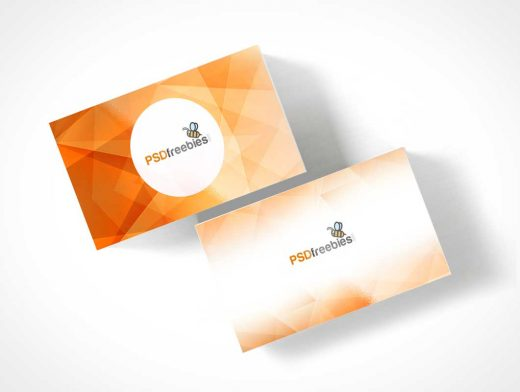 Business Card Stack Simple Top View PSD Mockup