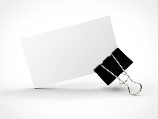 Business Card Upright In Binder Clip PSD Mockup