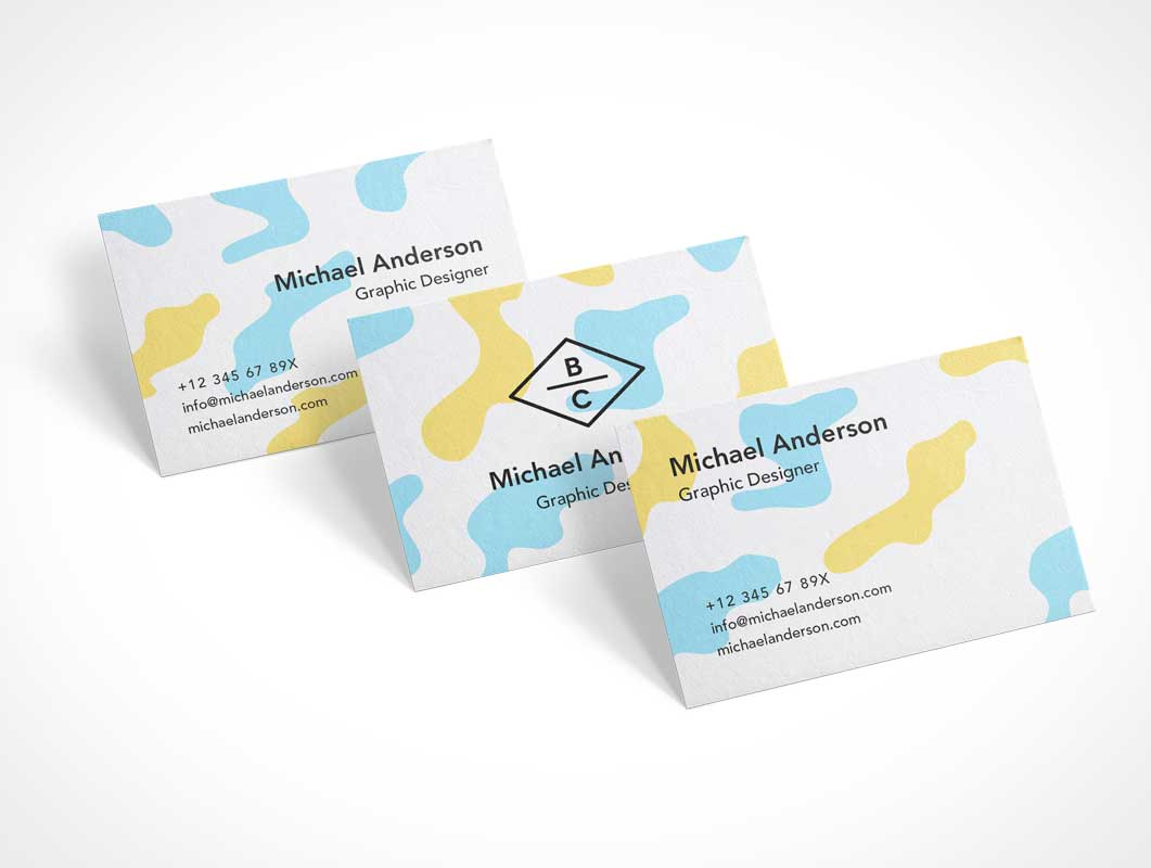 Business Cards Cascading Lineup PSD Mockup