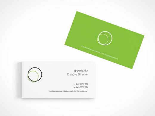 Business Cards Presentation Top View PSD Mockup