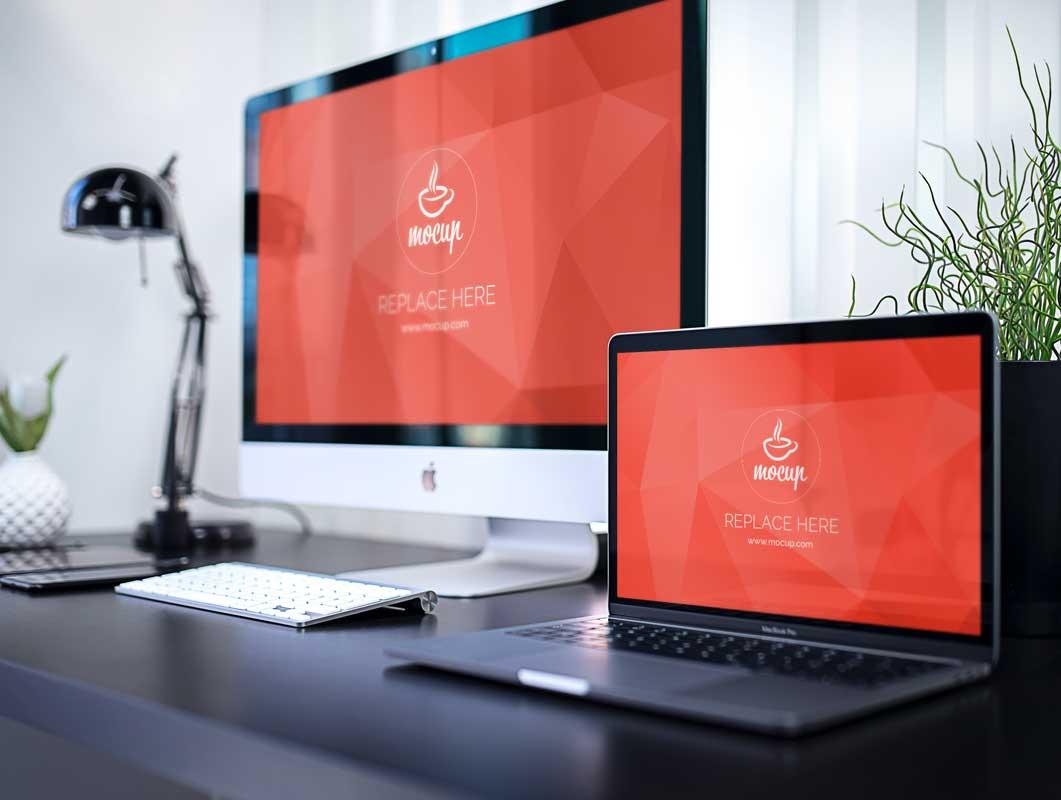 Business Office Desk With iMac & MacBook PSD Mockup